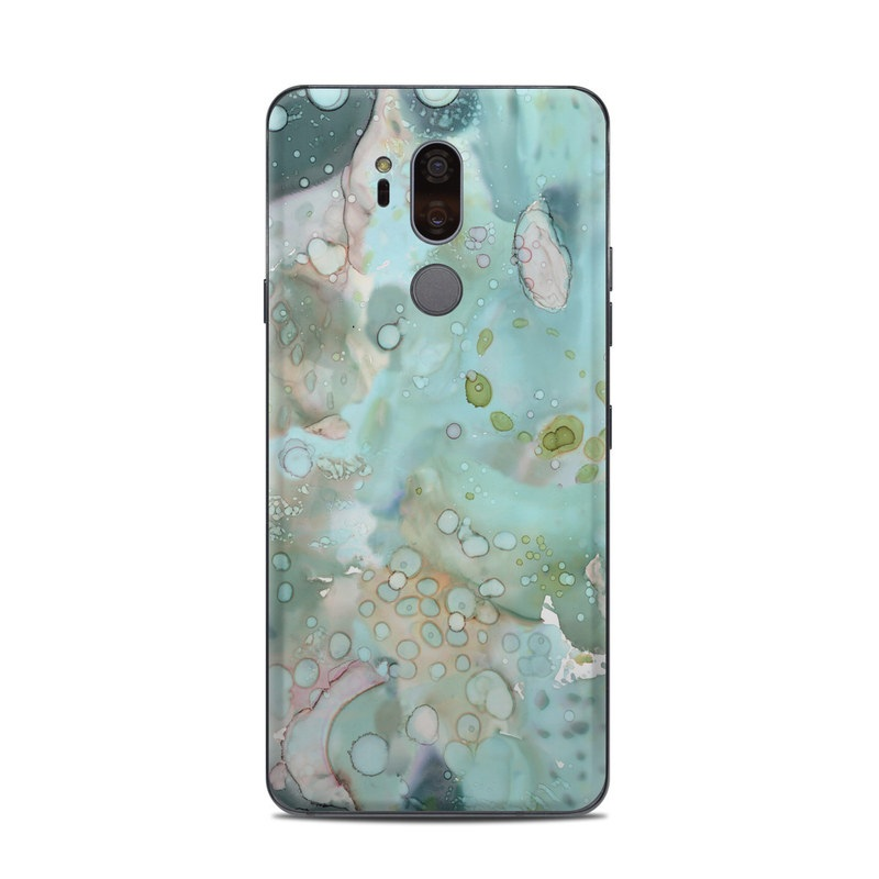LG G7 ThinQ Skin design of Aqua, Blue, Green, Watercolor paint, Pattern, Turquoise, Organism, Design, Art, Painting with blue, green, pink colors
