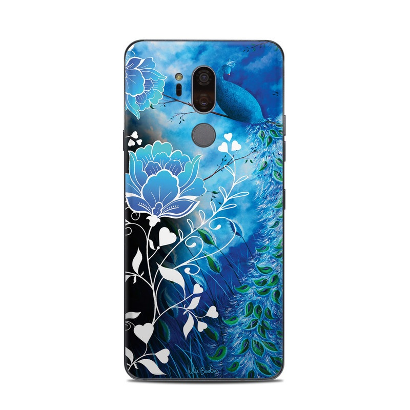 LG G7 ThinQ Skin design of Blue, Pattern, Graphic design, Design, Illustration, Organism, Visual arts, Graphics, Plant, Art with black, blue, gray, white colors