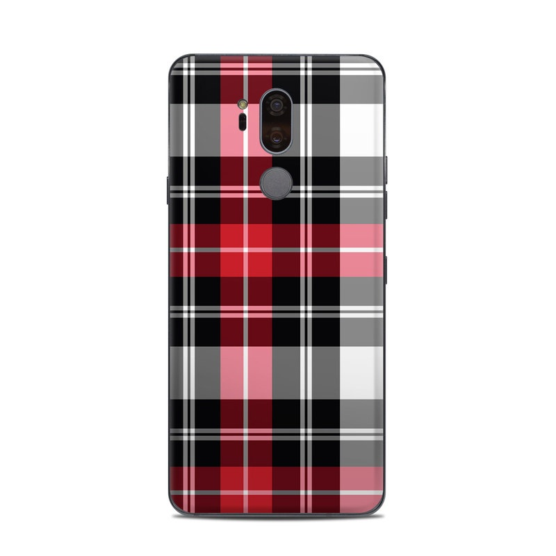 LG G7 ThinQ Skin design of Plaid, Tartan, Pattern, Red, Textile, Design, Line, Pink, Magenta, Square with black, gray, pink, red, white colors