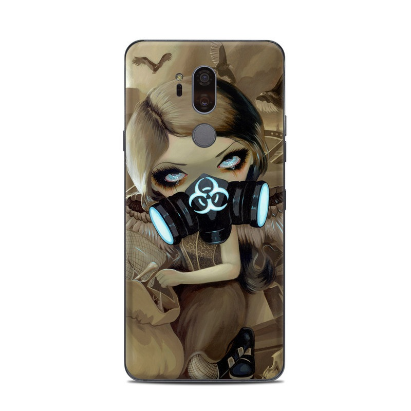 LG G7 ThinQ Skin design of Personal protective equipment, Mask, Illustration, Gas mask, Costume, Headgear, Fictional character, Fiction, Cg artwork, Art with black, green, gray, red, yellow, pink colors