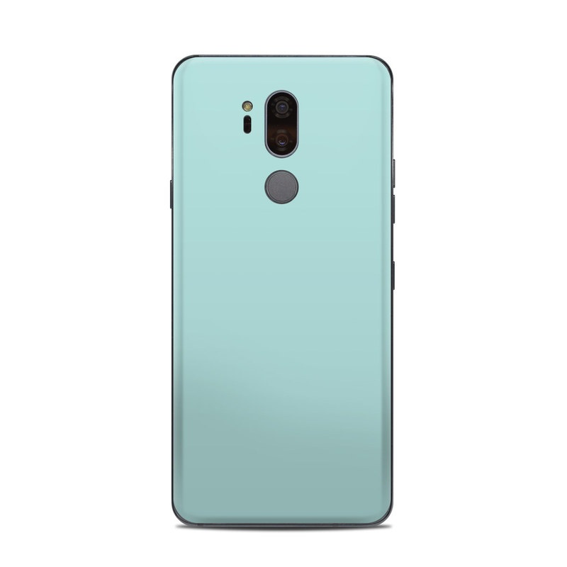 LG G7 ThinQ Skin design of Green, Blue, Aqua, Turquoise, Teal, Azure, Text, Daytime, Yellow, Sky with blue colors