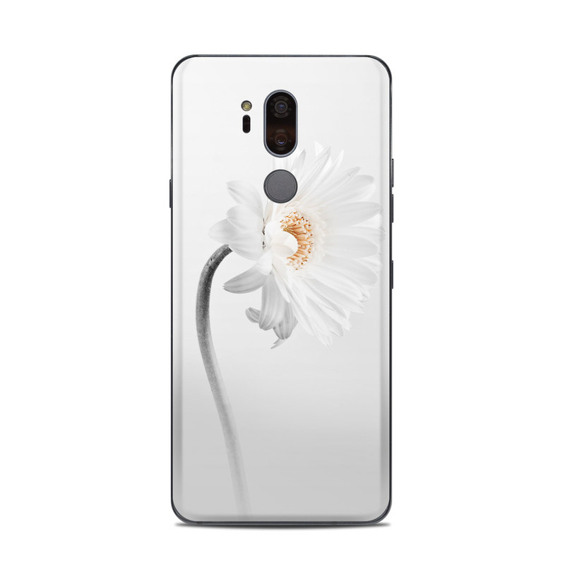LG G7 ThinQ Skin design of White, Hair accessory, Headpiece, Gerbera, Petal, Flower, Plant, Still life photography, Headband, Fashion accessory with white, gray colors