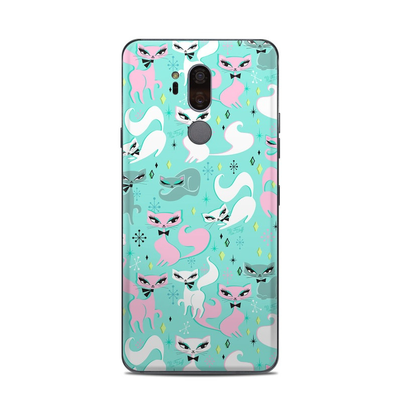 LG G7 ThinQ Skin design of Wrapping paper, Pattern, Turquoise, Teal, Aqua, Design, Textile, Gift wrapping, Fictional character, Illustration with blue, pink, gray, black, white colors