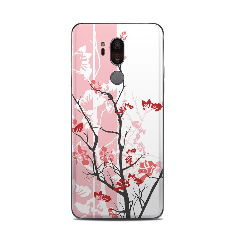 LG G7 ThinQ Skin design of Branch, Red, Flower, Plant, Tree, Twig, Blossom, Botany, Pink, Spring with white, pink, gray, red, black colors