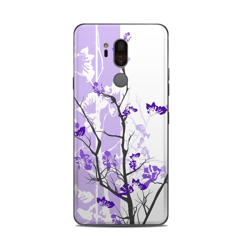 LG G7 ThinQ Skin design of Branch, Purple, Violet, Lilac, Lavender, Plant, Twig, Flower, Tree, Wildflower with white, purple, gray, pink, black colors