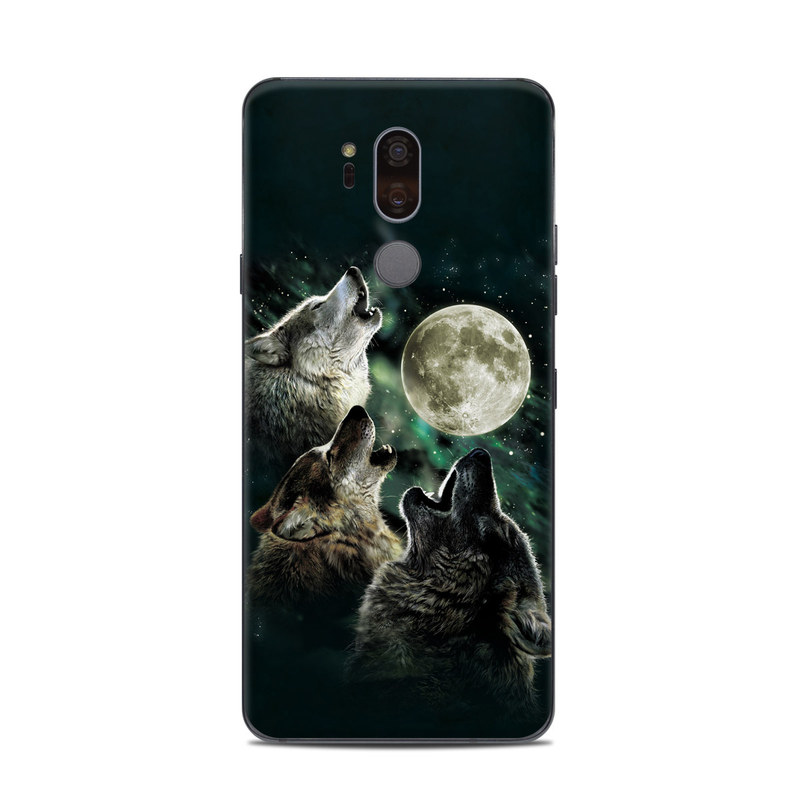 LG G7 ThinQ Skin design of Wolf, Light, Astronomical object, Moon, Wildlife, Organism, Moonlight, Sky, Atmosphere, Celestial event with black, gray, green colors