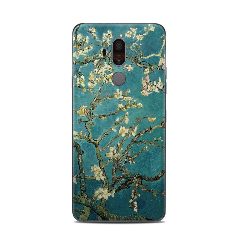 LG G7 ThinQ Skin design of Tree, Branch, Plant, Flower, Blossom, Spring, Woody plant, Perennial plant with blue, black, gray, green colors