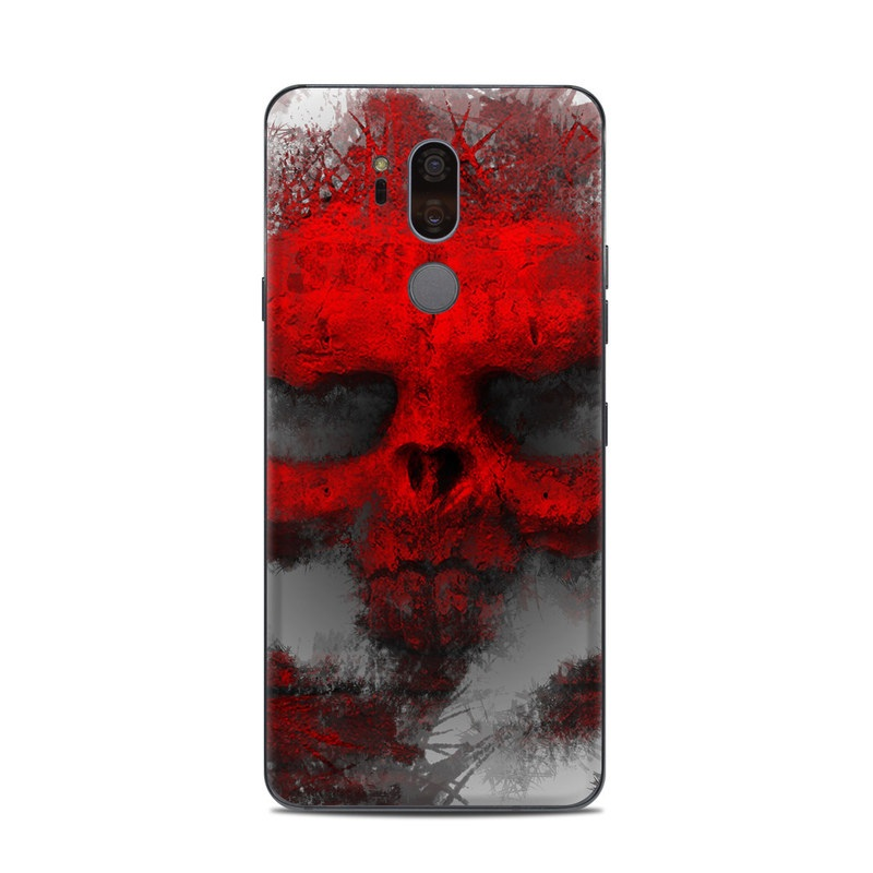 LG G7 ThinQ Skin design of Red, Graphic design, Skull, Illustration, Bone, Graphics, Art, Fictional character with red, gray, black, white colors