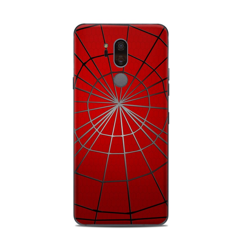 LG G7 ThinQ Skin design of Red, Symmetry, Circle, Pattern, Line with red, black, gray colors