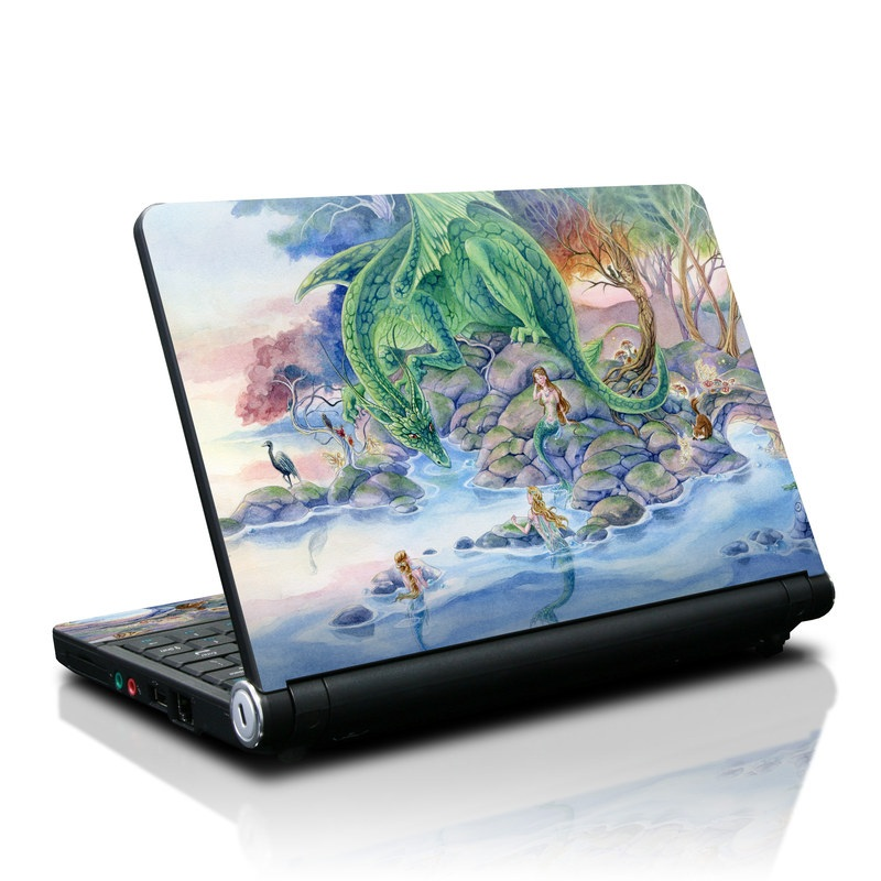 Lenovo IdeaPad S10 Skin design of Watercolor paint, Painting, Illustration, Tree, Fictional character, Mythology, Art, Plant, Cg artwork, Mythical creature with green, yellow, blue colors
