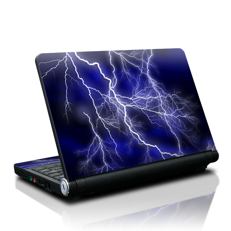 Lenovo IdeaPad S10 Skin design of Thunder, Lightning, Thunderstorm, Sky, Nature, Electric blue, Atmosphere, Daytime, Blue, Atmospheric phenomenon with blue, black, white colors
