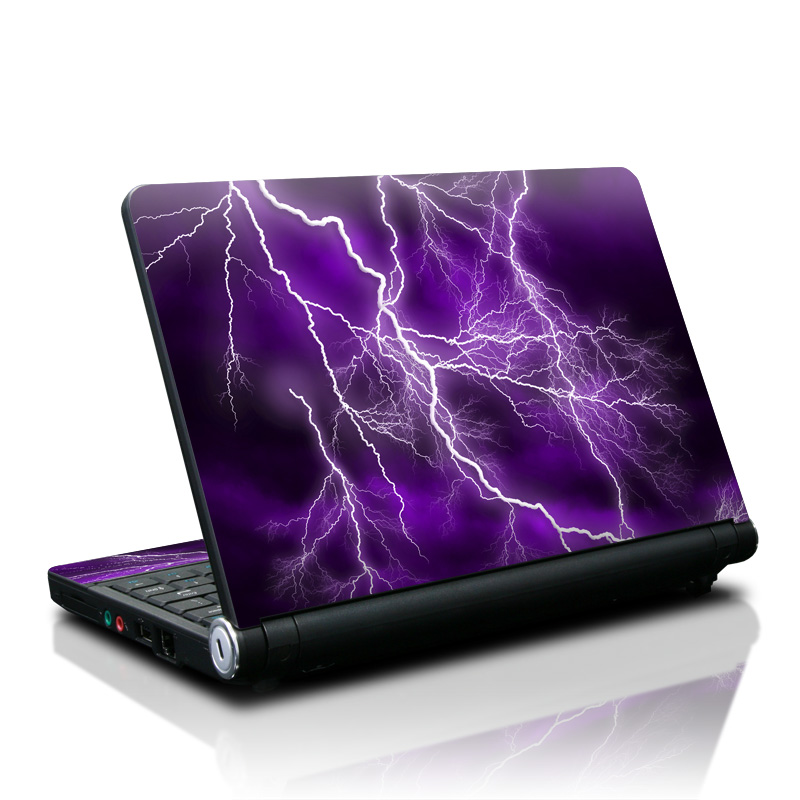 Lenovo IdeaPad S10 Skin design of Thunder, Lightning, Thunderstorm, Sky, Nature, Purple, Violet, Atmosphere, Storm, Electric blue with purple, black, white colors
