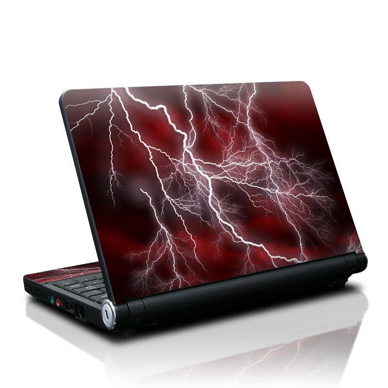 Lenovo IdeaPad S10 Skin design of Thunder, Thunderstorm, Lightning, Red, Nature, Sky, Atmosphere, Geological phenomenon, Lighting, Atmospheric phenomenon with red, black, white colors