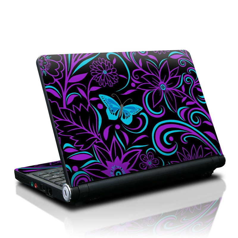 Lenovo IdeaPad S10 Skin design of Pattern, Purple, Violet, Turquoise, Teal, Design, Floral design, Visual arts, Magenta, Motif with black, purple, blue colors