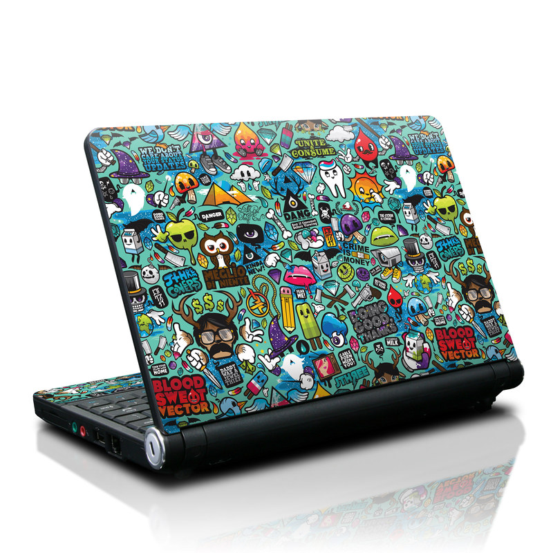 Lenovo IdeaPad S10 Skin design of Cartoon, Art, Pattern, Design, Illustration, Visual arts, Doodle, Psychedelic art with black, blue, gray, red, green colors