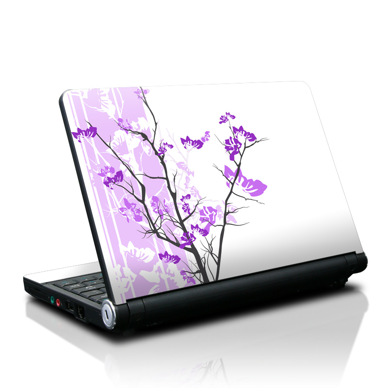 Lenovo IdeaPad S10 Skin design of Branch, Purple, Violet, Lilac, Lavender, Plant, Twig, Flower, Tree, Wildflower with white, purple, gray, pink, black colors