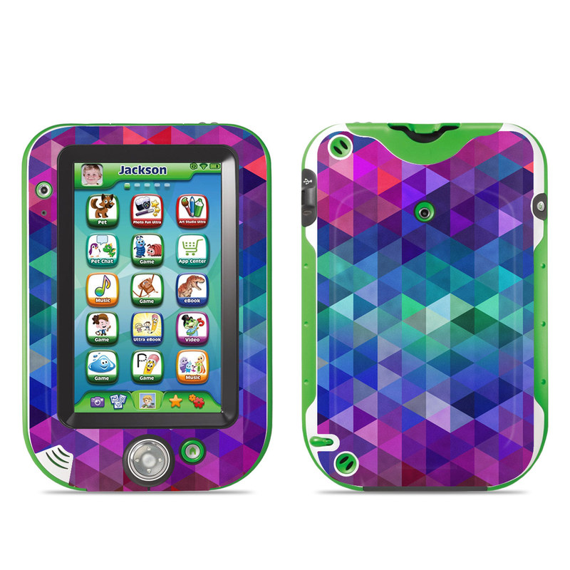 LeapFrog LeapPad Ultra Skin design of Purple, Violet, Pattern, Blue, Magenta, Triangle, Line, Design, Graphic design, Symmetry with blue, purple, green, red, pink colors
