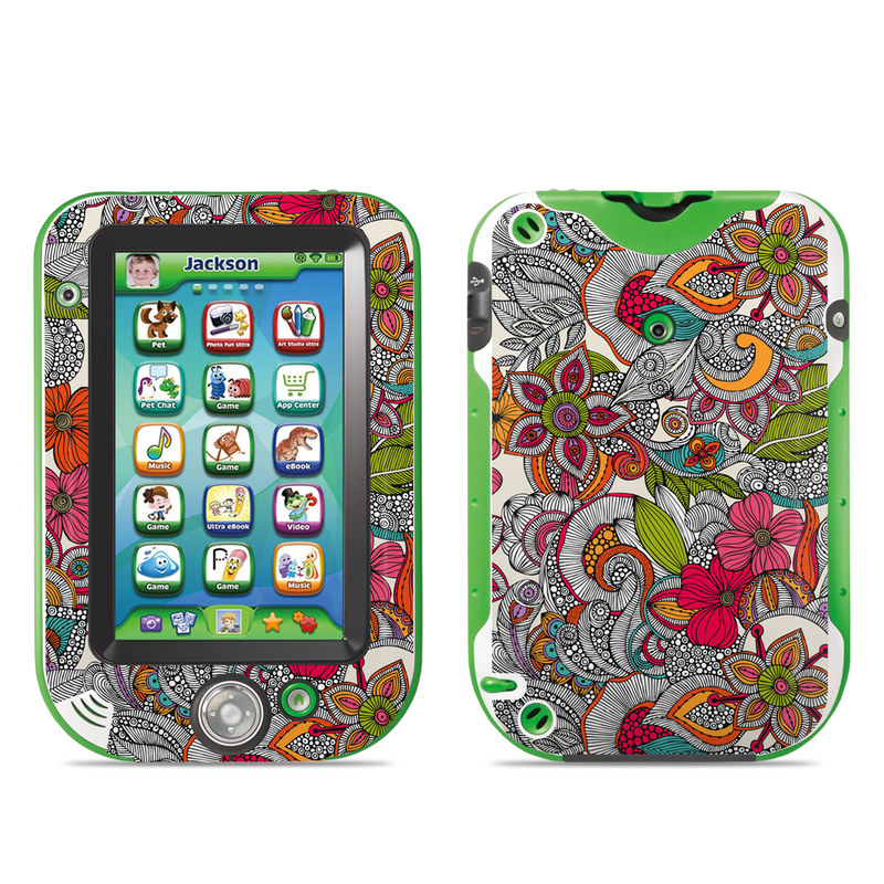 LeapFrog LeapPad Ultra Skin design of Pattern, Drawing, Visual arts, Art, Design, Doodle, Floral design, Motif, Illustration, Textile with gray, red, black, green, purple, blue colors