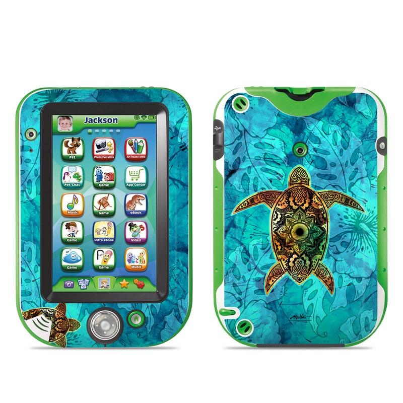 LeapFrog LeapPad Ultra Skin design of Sea turtle, Green sea turtle, Turtle, Hawksbill sea turtle, Tortoise, Reptile, Loggerhead sea turtle, Illustration, Art, Pattern with blue, black, green, gray, red colors