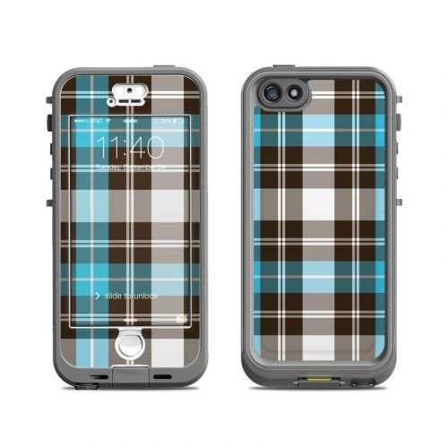 Turquoise Plaid LifeProof iPhone SE, 5s nuud Skin