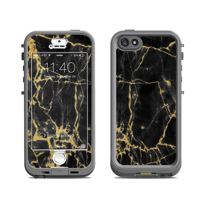 Black Gold Marble LifeProof iPhone SE, 5s nuud Case Skin