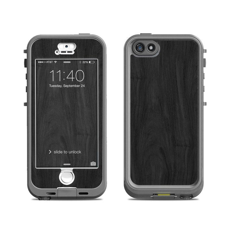 Black Woodgrain LifeProof iPhone SE, 5s nuud Skin