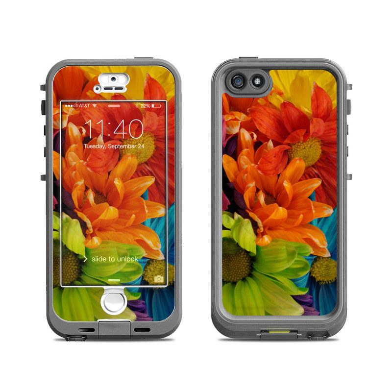 LifeProof iPhone SE, 5s nuud Case Skin design of Flower, Petal, Orange, Cut flowers, Yellow, Plant, Bouquet, Floral design, Flowering plant, Gerbera with red, green, black, blue colors