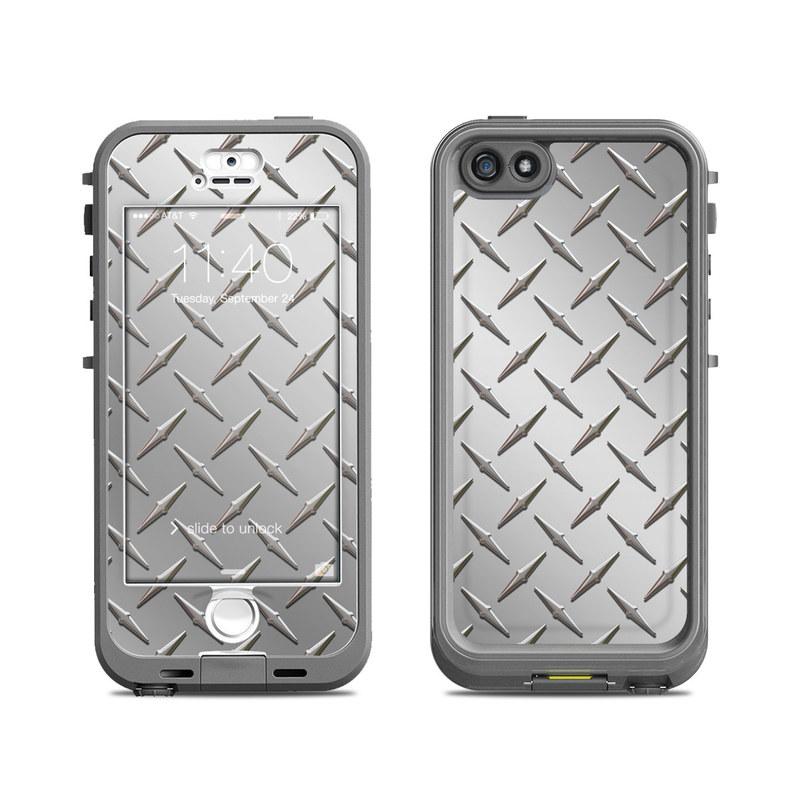 LifeProof iPhone SE 1st Gen, 5s nuud Case Skin design of Pattern, Metal, Line, Design, Steel, Parallel, Tile, Beige, Flooring with gray colors