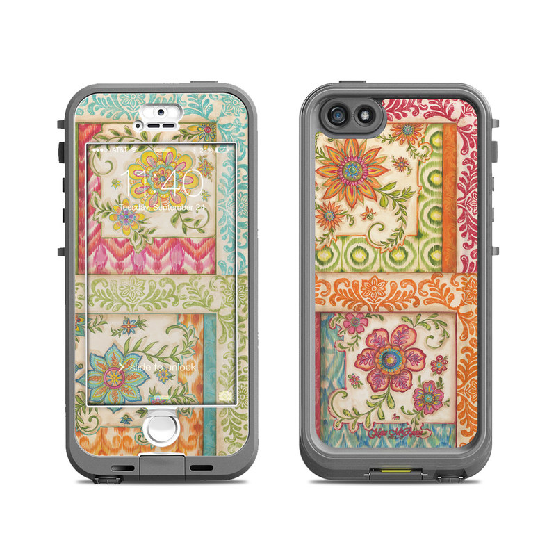 LifeProof iPhone SE, 5s nuud Case Skin design of Pattern, Textile, Line, Design, Wrapping paper, Visual arts, Motif, Floral design, Pedicel with gray, green, pink, red, blue, orange colors