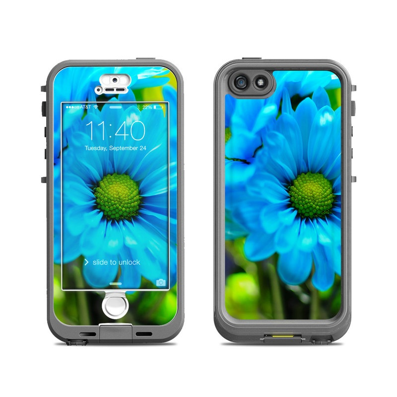 LifeProof iPhone SE, 5s nuud Case Skin design of Blue, Flower, Petal, Green, Plant, Cobalt blue, Yellow, Flowering plant, Gerbera, Electric blue with blue, black, green colors
