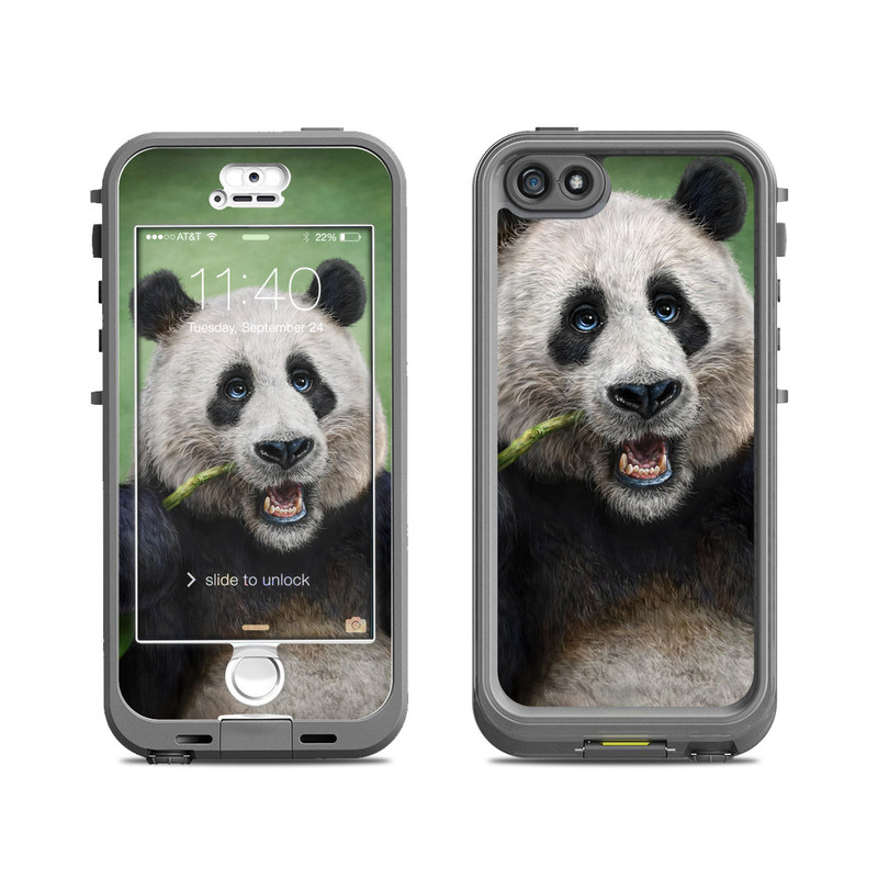 LifeProof iPhone SE, 5s nuud Case Skin design of Mammal, Vertebrate, Terrestrial animal, Nose, Snout, Bear, Carnivore, Organism, Eye, Wildlife with black, white, green colors