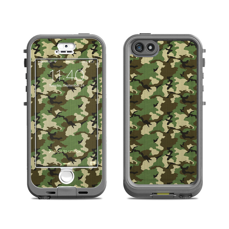 LifeProof iPhone SE 1st Gen, 5s nuud Case Skin design of Military camouflage, Camouflage, Clothing, Pattern, Green, Uniform, Military uniform, Design, Sportswear, Plane with black, gray, green colors