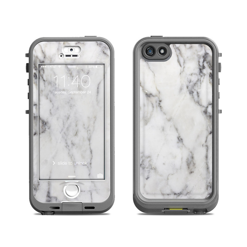low priced 62988 54f49 White Marble LifeProof iPhone SE, 5s nuud Case Skin