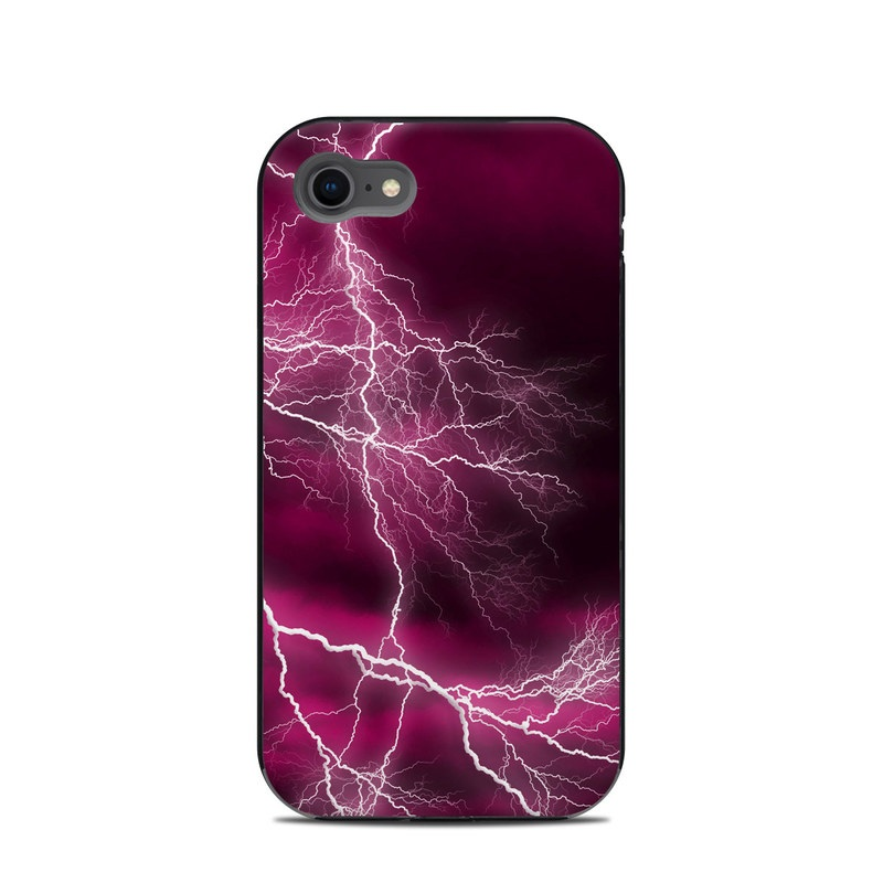LifeProof iPhone 8 Next Case Skin design of Thunder, Lightning, Thunderstorm, Sky, Nature, Purple, Red, Atmosphere, Violet, Pink with pink, black, white colors
