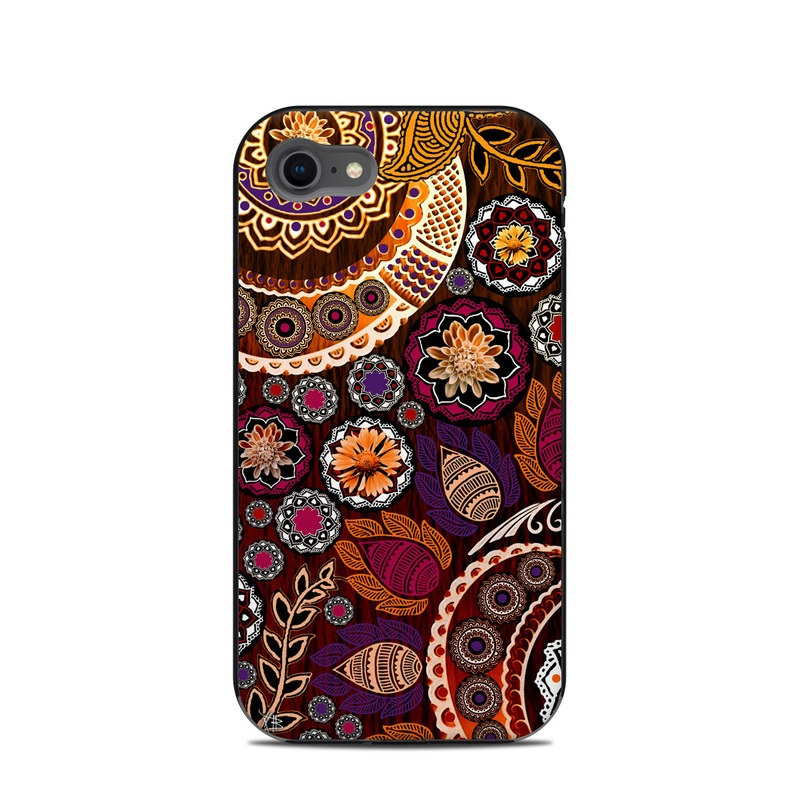 LifeProof iPhone 8 Next Case Skin design of Pattern, Motif, Visual arts, Design, Art, Floral design, Textile, Paisley, Tapestry, Circle with brown, purple, red, white, black colors