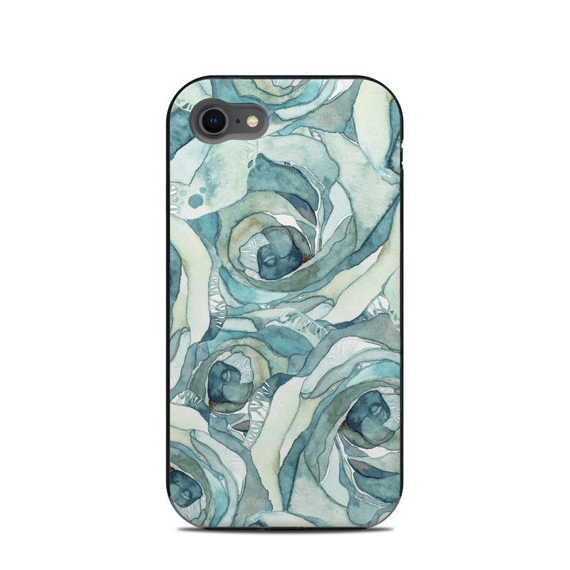 LifeProof iPhone 8 Next Case Skin design of Rose, Garden roses, Blue, Flower, Rose family, Watercolor paint, Plant, Pattern, Rosa × centifolia, Blue rose with blue, green colors