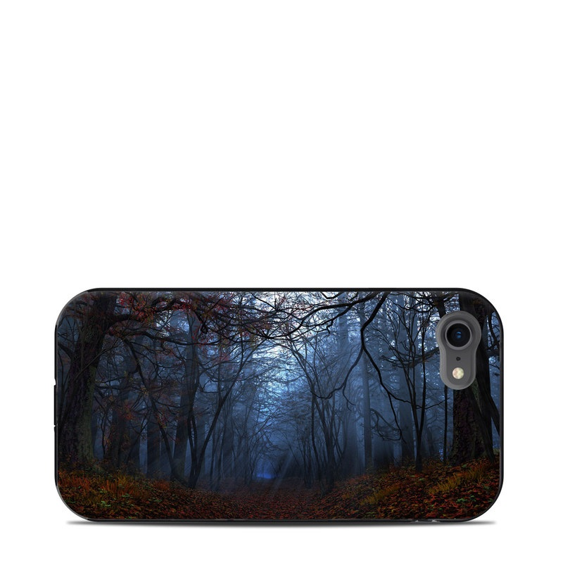 LifeProof iPhone 8 Next Case Skin design of Natural landscape, Nature, Tree, Forest, Woodland, Natural environment, Atmospheric phenomenon, Sky, Fog, Branch with black, blue, gray colors