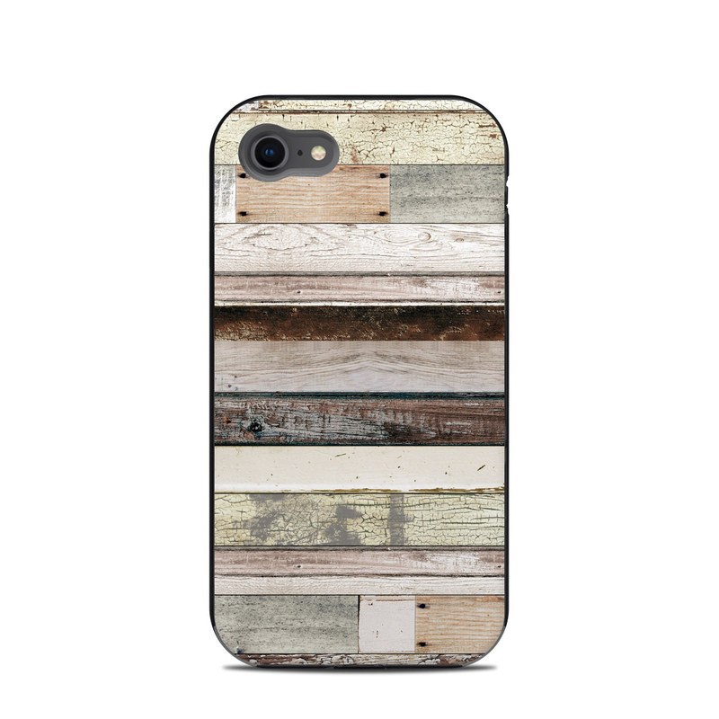 LifeProof iPhone 8 Next Case Skin design of Wood, Wall, Plank, Line, Lumber, Wood stain, Beige, Parallel, Hardwood, Pattern with brown, white, gray, yellow colors