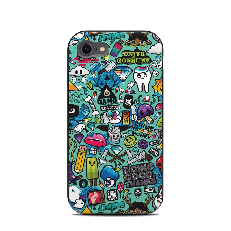 LifeProof iPhone 8 Next Case Skin design of Cartoon, Art, Pattern, Design, Illustration, Visual arts, Doodle, Psychedelic art with black, blue, gray, red, green colors
