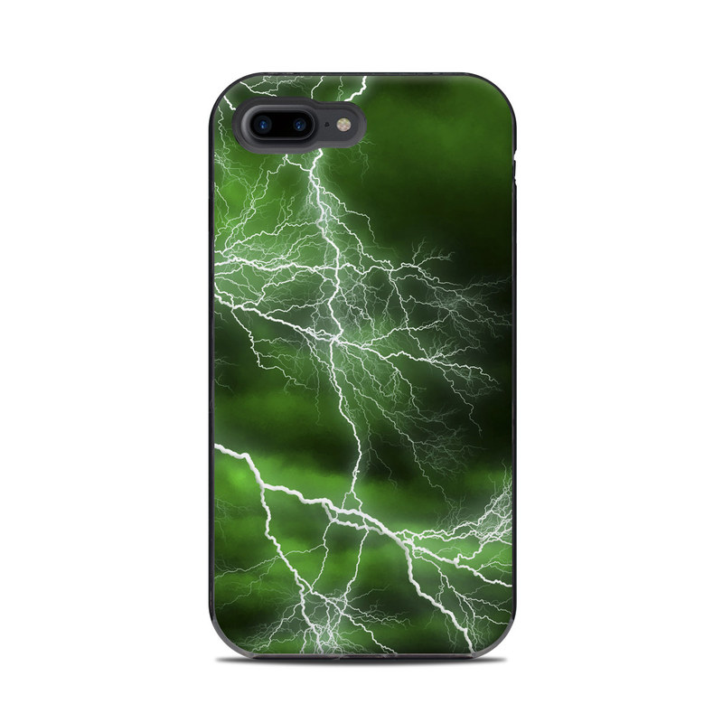 LifeProof iPhone 8 Plus Next Case Skin design of Thunderstorm, Thunder, Lightning, Nature, Green, Water, Sky, Atmosphere, Atmospheric phenomenon, Daytime with green, black, white colors