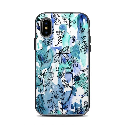 Blue Ink Floral LifeProof iPhone X Next Case Skin