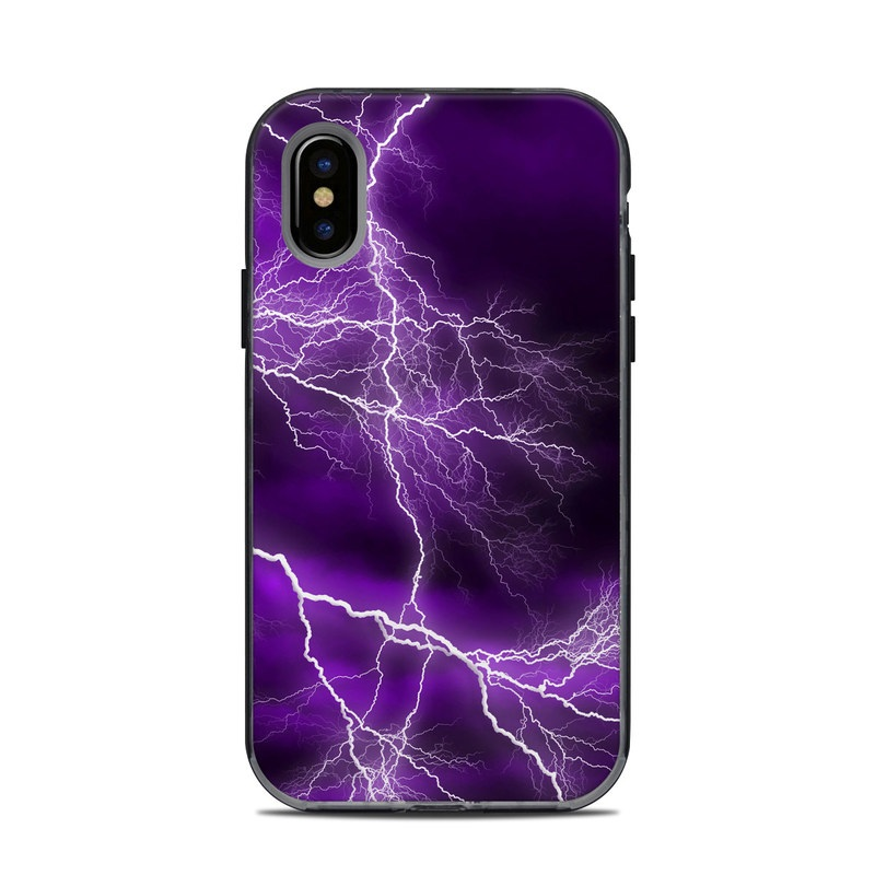 LifeProof iPhone X Next Case Skin design of Thunder, Lightning, Thunderstorm, Sky, Nature, Purple, Violet, Atmosphere, Storm, Electric blue with purple, black, white colors