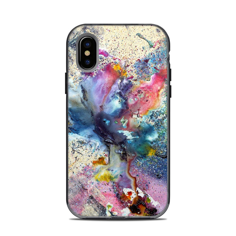 LifeProof iPhone X Next Case Skin design of Watercolor paint, Painting, Acrylic paint, Art, Modern art, Paint, Visual arts, Space, Colorfulness, Illustration with gray, black, blue, red, pink colors