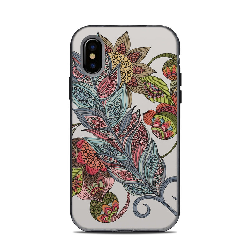 LifeProof iPhone X Next Case Skin design of Botany, Plant, Leaf, Pattern, Flower, Illustration, Design, Motif, Protea family, Flowering plant with green, blue, pink, red, yellow, orange, gray, brown colors