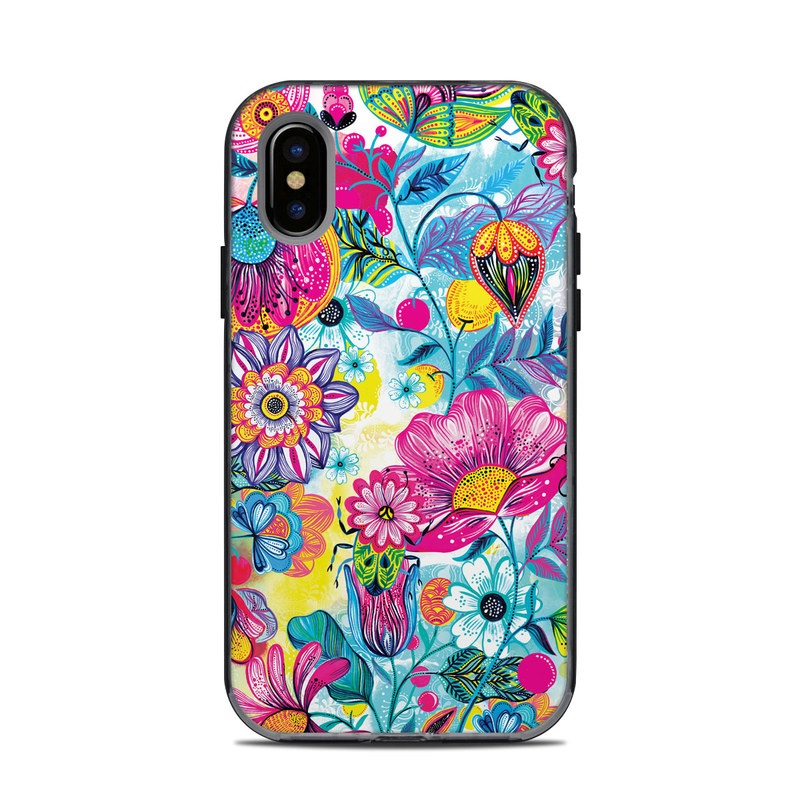 LifeProof iPhone X Next Case Skin design of Pattern, Floral design, Textile, Design, Flower, Wildflower, Visual arts, Plant, Wrapping paper with blue, pink, purple, green, yellow, orange, white colors
