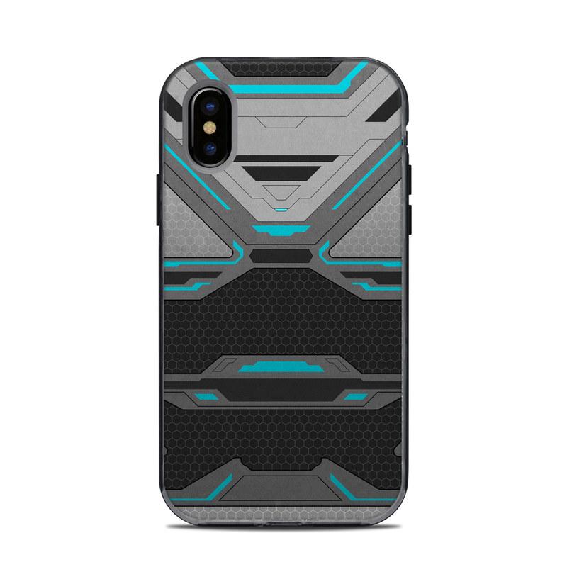 LifeProof iPhone X Next Case Skin design of Blue, Turquoise, Pattern, Teal, Symmetry, Design, Line, Automotive design, Font with black, gray, blue colors