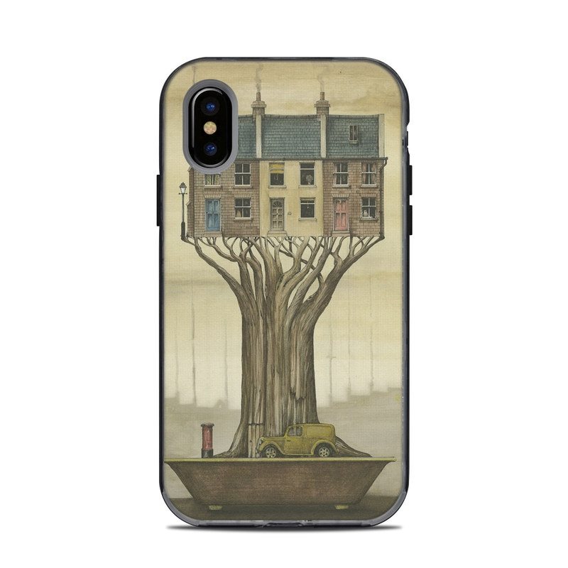 LifeProof iPhone X Next Case Skin design of Watercolor paint, Illustration, Art, Tree, Painting, Drawing, Visual arts, Plant, Vehicle, Sketch with brown, yellow, red, black colors