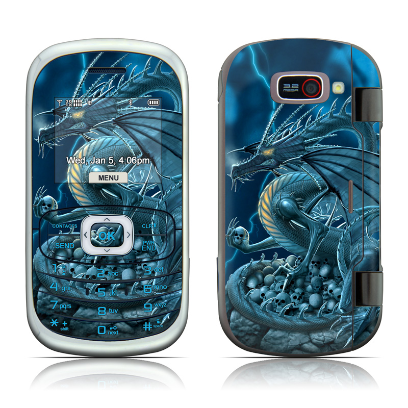 LG Octane VN530 Skin design of Cg artwork, Dragon, Mythology, Fictional character, Illustration, Mythical creature, Art, Demon with blue, yellow colors