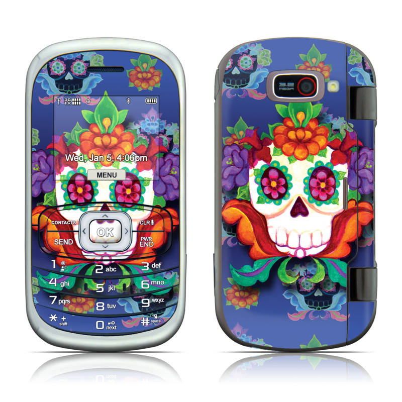 LG Octane VN530 Skin design of Psychedelic art, Skull, Pattern, Bone, Illustration, Visual arts, Art, Symmetry, Plant with blue, purple, red, green, orange colors