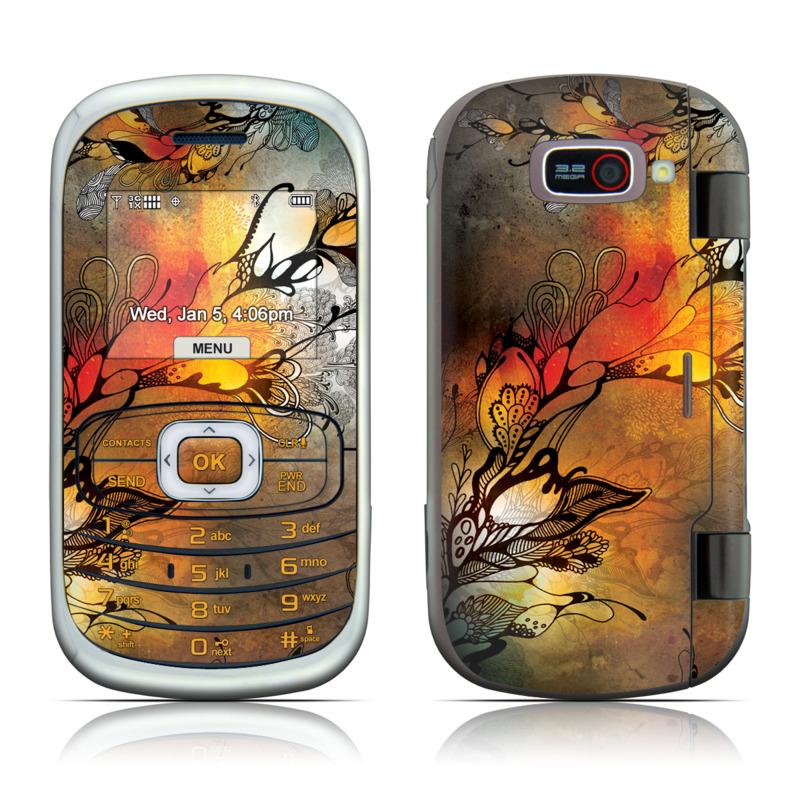 LG Octane VN530 Skin design of Yellow, Orange, Art, Branch, Leaf, Graphic design, Visual arts, Pattern, Design, Modern art with black, red, orange, yellow colors